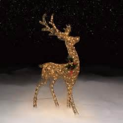 60 quot in gold glitter reindeer lighted outdoor