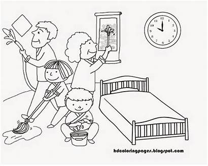 Cleaning Coloring Clean Pages Drawing Clip Clipart