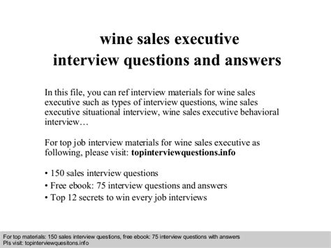 wine sales executive questions and answers