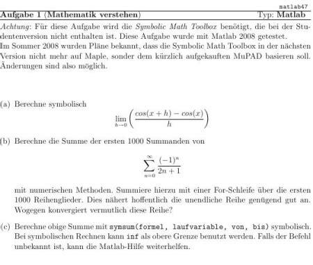 matlab file symbolisch summen und limes berechnen