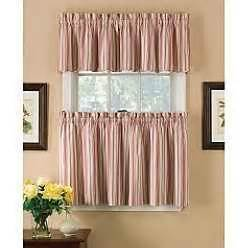 country living red ticking stripe tier curtains and