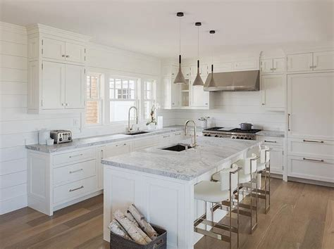 white l shaped kitchen with island chic white cottage kitchen features white shaker