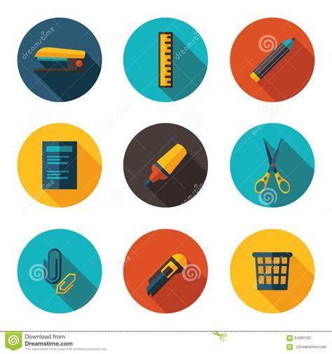 icones bureau icônes plates de bureau illustration stock image 64081125