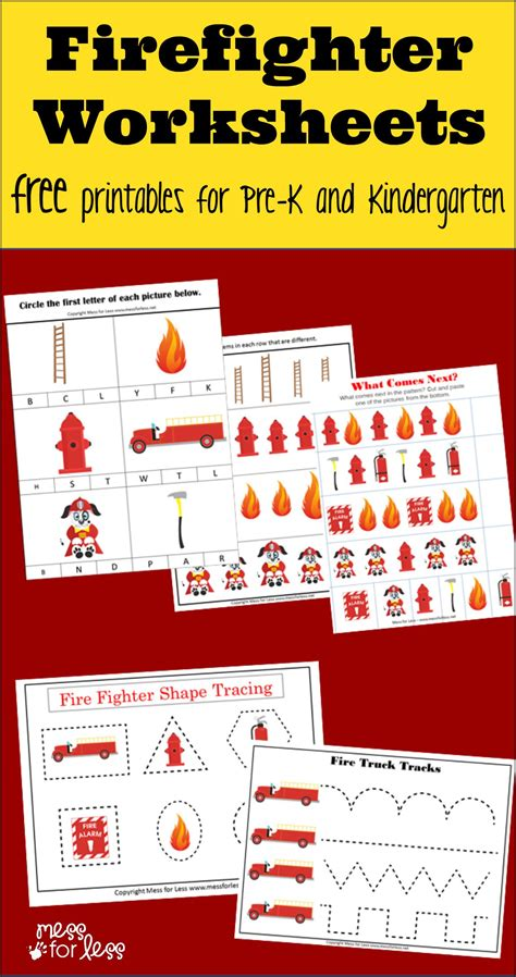 firefighter kindergarten worksheets mess for less 442 | firefighter kindergarten worksheets