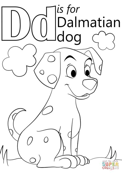 letter d is for dalmatian coloring page free printable coloring pages