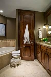 elegant, master, bathroom, with, rustic, charm