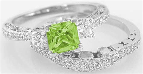 Princess Cut Peridot Engagement Ring And Matching Wedding Band With Vintage Antique Inspiration Archive Antiques Grand Rapids Mi Opera House Hammondsport Frederick Md Dealers Antique Gun Auctions Uk Ireland Fairs Copper Crown Molding Truck Parts Alberta Chevy