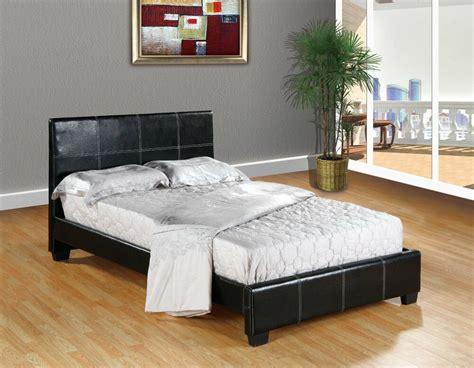 Black Faux Leather Queen Size Platform Bed Frame & Slats