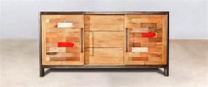 Buffet Bois Recyclé : buffet en bois recycl avec 3 tiroirs 2 portes coulissantes industryal ~ Teatrodelosmanantiales.com Idées de Décoration