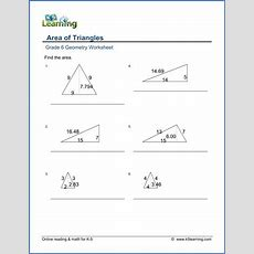 Grade 6 Geometry Worksheets Area Of Triangles  K5 Learning