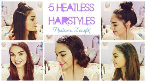 5 Heatless Hairstyles For Summer! // Medium Length Hair
