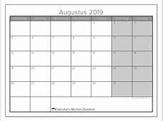 Kalenders augustus 2019 MZ Michel Zbinden NL