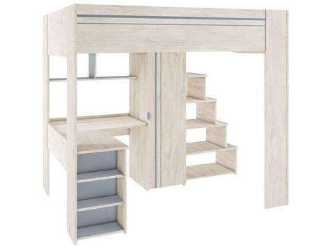 lit mezzanine 1 place avec bureau conforama lit surélevé 90x200 cm
