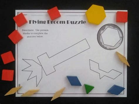build  flying witchs broom  pattern blocks