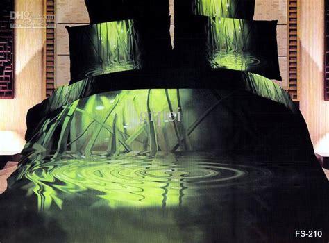 Green Black Bamboo Water Comforter Bedding Set King Size