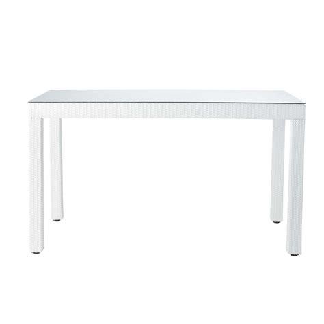 table de jardin haute en verre tremp 233 et r 233 sine tress 233 e blanche l 190 cm antibes maisons du monde