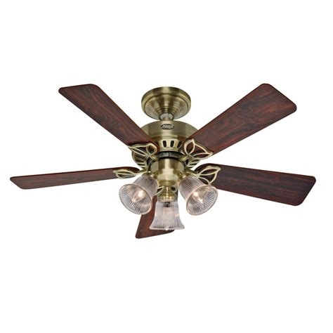 hunter ceiling fans with lights clearance shop hunter 42 in beacon hill antique brass ceiling fan