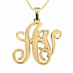 24k gold plated two letters monogram necklace shop now With necklace with two letters