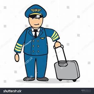 Funny Cartoon Man Pilot Uniform Suitcase Stock
