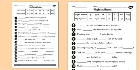 personal pronouns worksheet personal pronouns