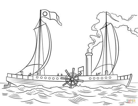 robert fultons steamboat clermont coloring page  printable coloring pages