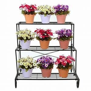 3, Tier, Decorative, Black, Metal, Plant, Stand, Planter, Holder, Multi, Planter, Flowe