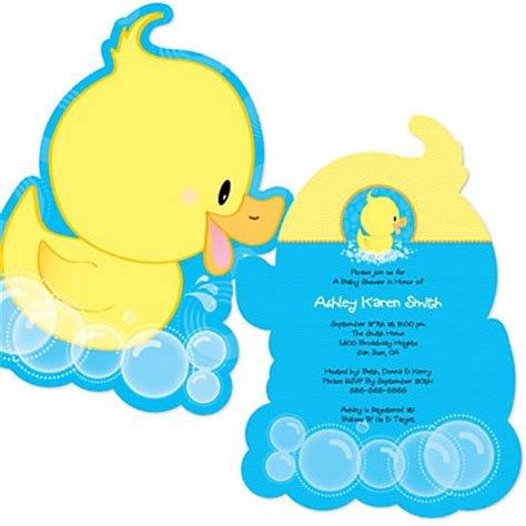 Ducky Duck  Shaped Baby Shower Invitations  Set Of 12