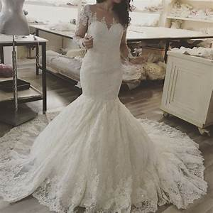 Elegant Scoop Neckline Lace Mermaid Bridal Gowns