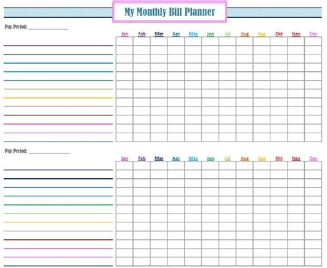 monthly bill log template  printable monthly bill
