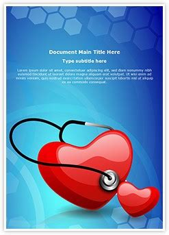 heart stethoscope editable word template  design