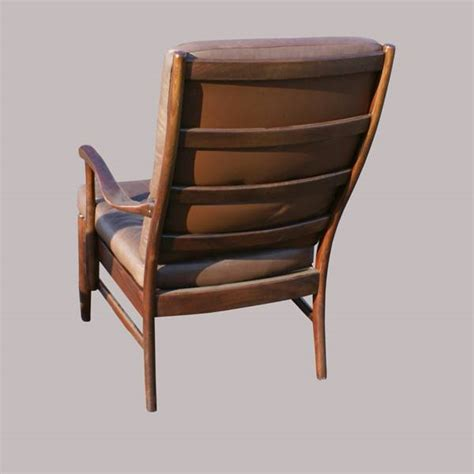 vintage brown leather wood lounge chair ebay