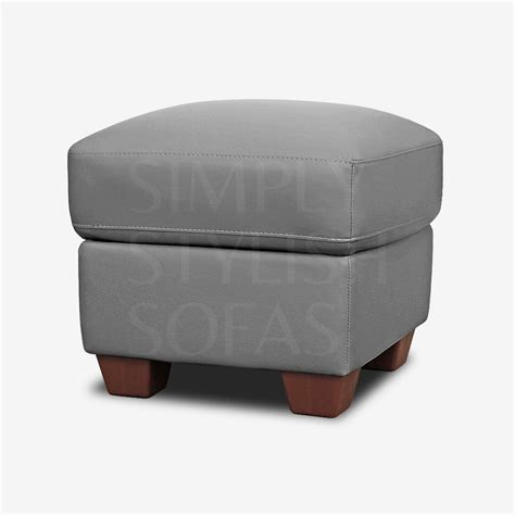 Fisherwick Slate Grey Leather Footstool Storage Ottoman
