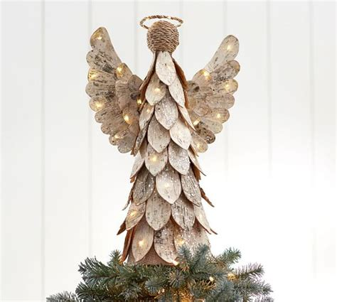 lit birch angel tree topper pottery barn