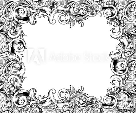 baroque horizontal frame ink drawing buy  stock