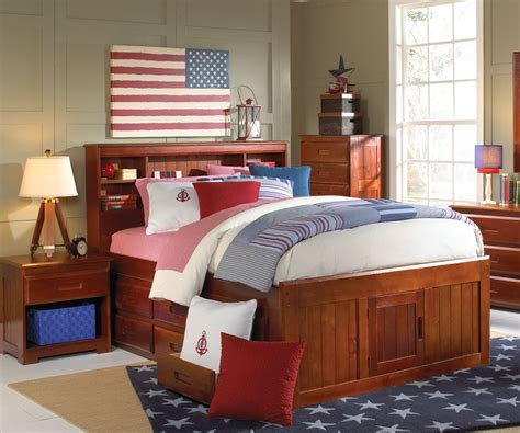 2821 full bookcase headboard captain bed w trundle 3 drawers