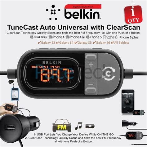 fm transmitter auto belkin tunecast auto universal fm transmitter clearscan for iphone 6 5s 5c 5 4s ebay