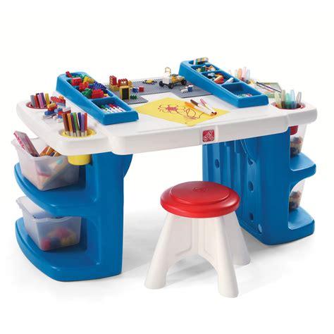 Build & Store Block & Activity Table  Kids Art Desk Step2