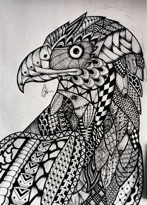 zentangle eagle  lukemac  deviantart   doodle
