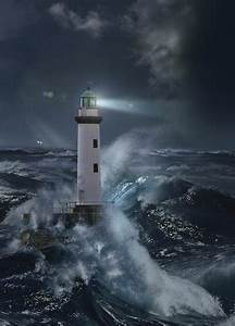 Lighthouses - Lighthouse In The Storm By Moonlight, 2 ...