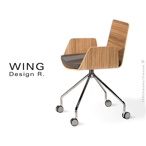 fauteuil design 224 roulettes wing pi 233 tement m 233 tal assise