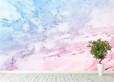 pastel blue  pink marble wall mural wallpaper canvas