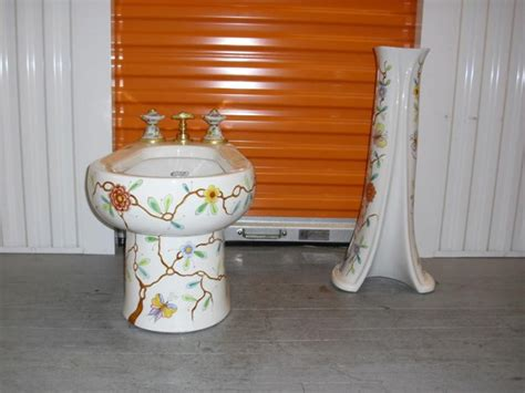 sherle wagner floral chinoiserie pattern bidet and