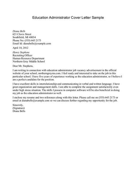 sample cover letter good   education jobs job