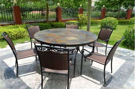 cm  slate patio dining table tiled mosaic oceane