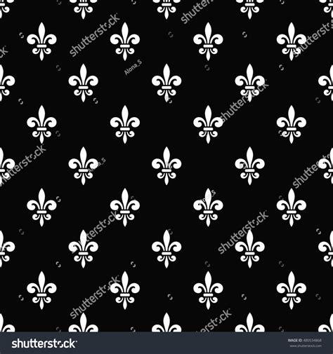 Golden Fleurdelis Seamless Pattern Black White Stock