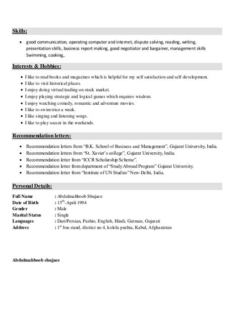 Hobby In Resume by Resume Sle For Freshers