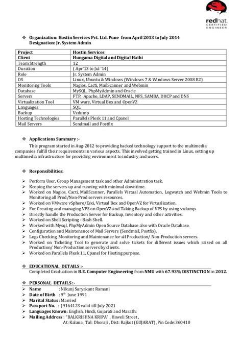 nikunj hadoop admin resume