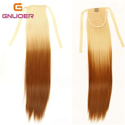 Staight Ponytail Hair Extension 24 Ombre Blonde To Earth