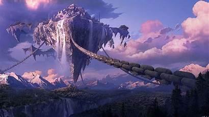 Anime Landscape Mountain Floating Forest Fantasy Island
