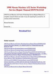 1998 Nissan Maxima A32 Series Workshop Service Repair